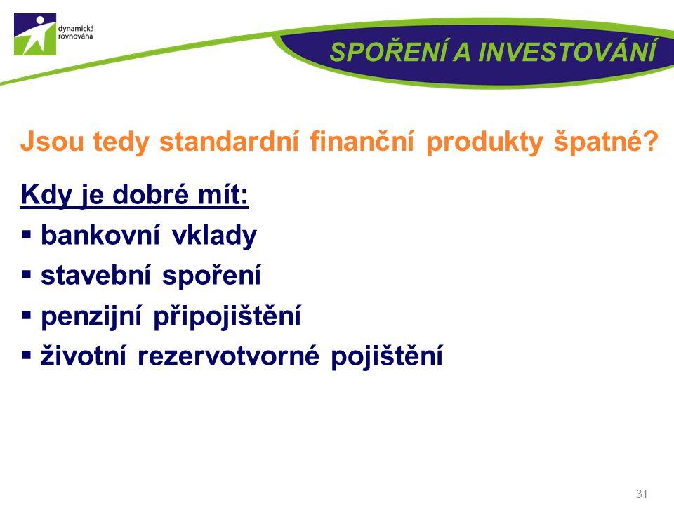 SPOŘENÍ A INVESTOVÁNÍ Vklady, stavební spoření, penzijní a životní pojištění VýnosLikvidita Bezpečí, jistota (= minimalizace rizika) Zhodnocené peníze