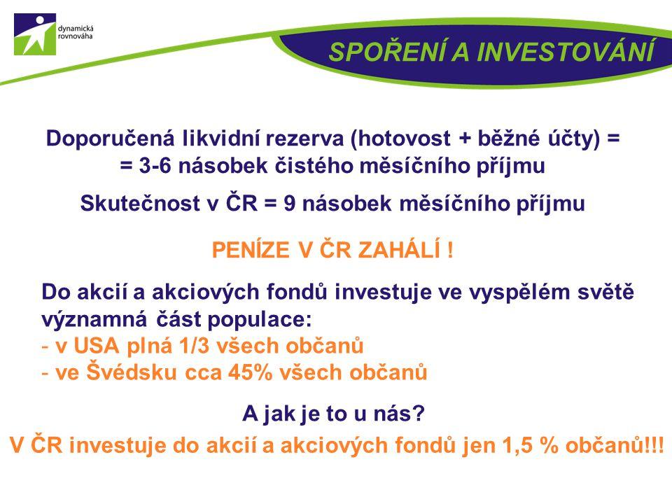 ROZLOŽENÍ FINANČNÍHO MAJETKU DOMÁCNOSTÍ V ČR - hotovost Finanční majetek domácností ke konci roku 2011 činil 3 406 mld. Kč. Průměrný občan má finanční