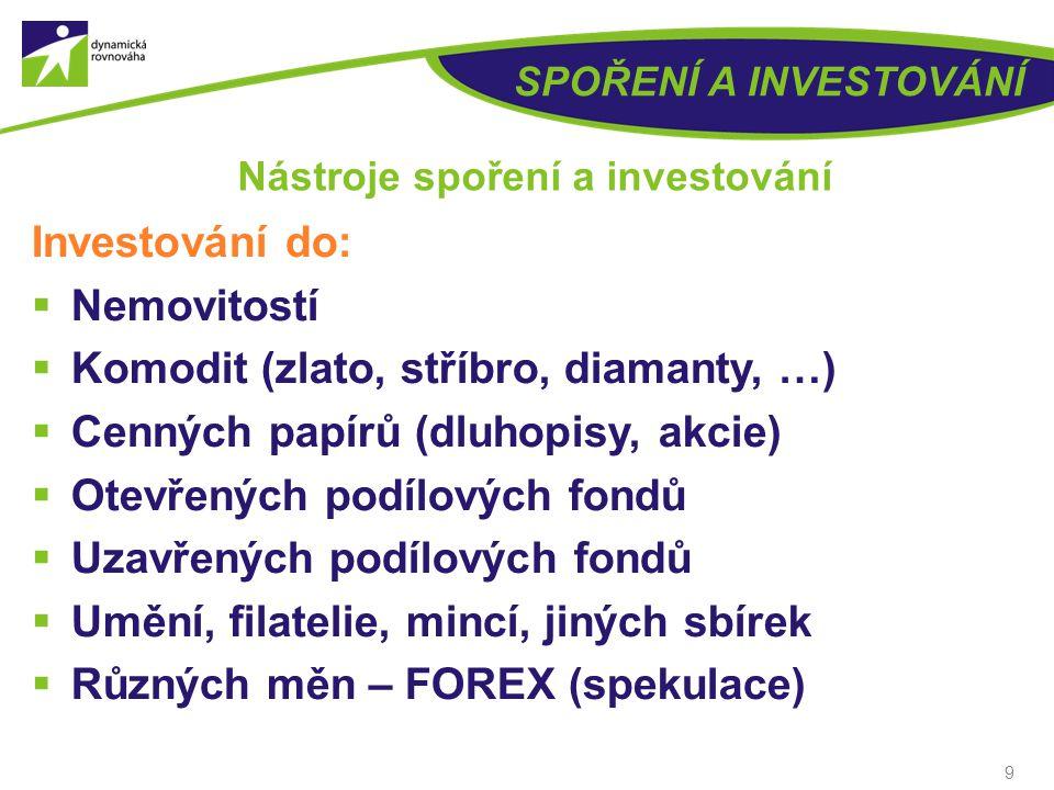 8 SPOŘENÍ A INVESTOVÁNÍ Nástroje spoření a investování Standardní a konzervativní finanční produkty  Vkladní knížka  Spořící účet  Termínovaný vkla