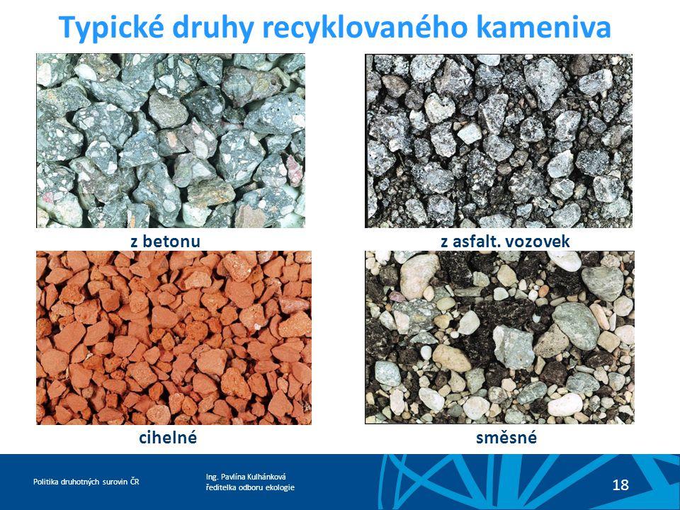 Ing. Pavlína Kulhánková ředitelka odboru ekologie Politika druhotných surovin ČR 18 Typické druhy recyklovaného kameniva z betonu z asfalt. vozovek ci