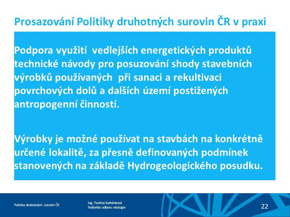 Ing. Pavlína Kulhánková ředitelka odboru ekologie Politika druhotných surovin ČR 22 Podpora využití vedlejších energetických produktů technické návody