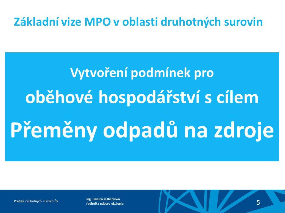 Ing. Pavlína Kulhánková ředitelka odboru ekologie Politika druhotných surovin ČR 5 Základní vize MPO v oblasti druhotných surovin Vytvoření podmínek p