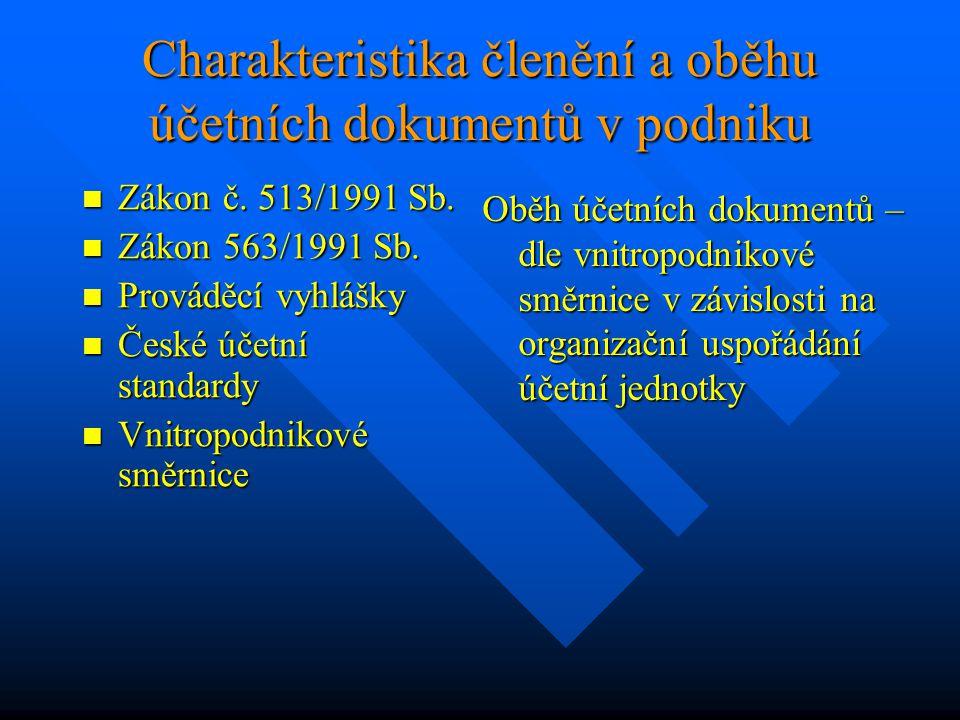 Charakteristika členění a oběhu účetních dokumentů v podniku Zákon č. 513/1991 Sb. Zákon č. 513/1991 Sb. Zákon 563/1991 Sb. Zákon 563/1991 Sb. Provádě