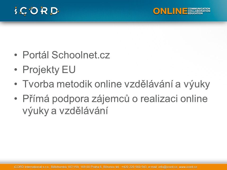 Portál Schoolnet.cz Projekty EU Tvorba metodik online vzdělávání a výuky Přímá podpora zájemců o realizaci online výuky a vzdělávání