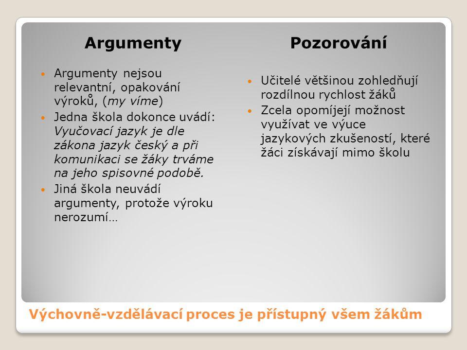 Výchovně-vzdělávací proces je přístupný všem žákům ArgumentyPozorování Argumenty nejsou relevantní, opakování výroků, (my víme) Jedna škola dokonce uv