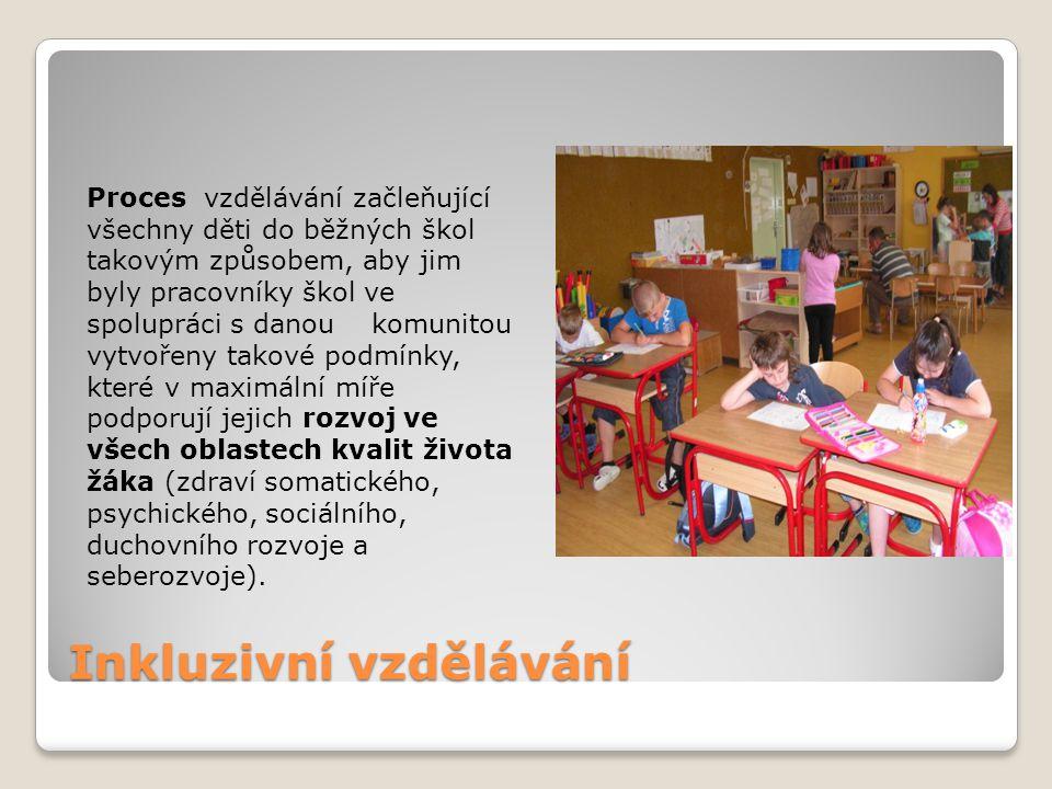 Proces vzdělávání začleňující všechny děti do běžných škol takovým způsobem, aby jim byly pracovníky škol ve spolupráci s danou komunitou vytvořeny ta