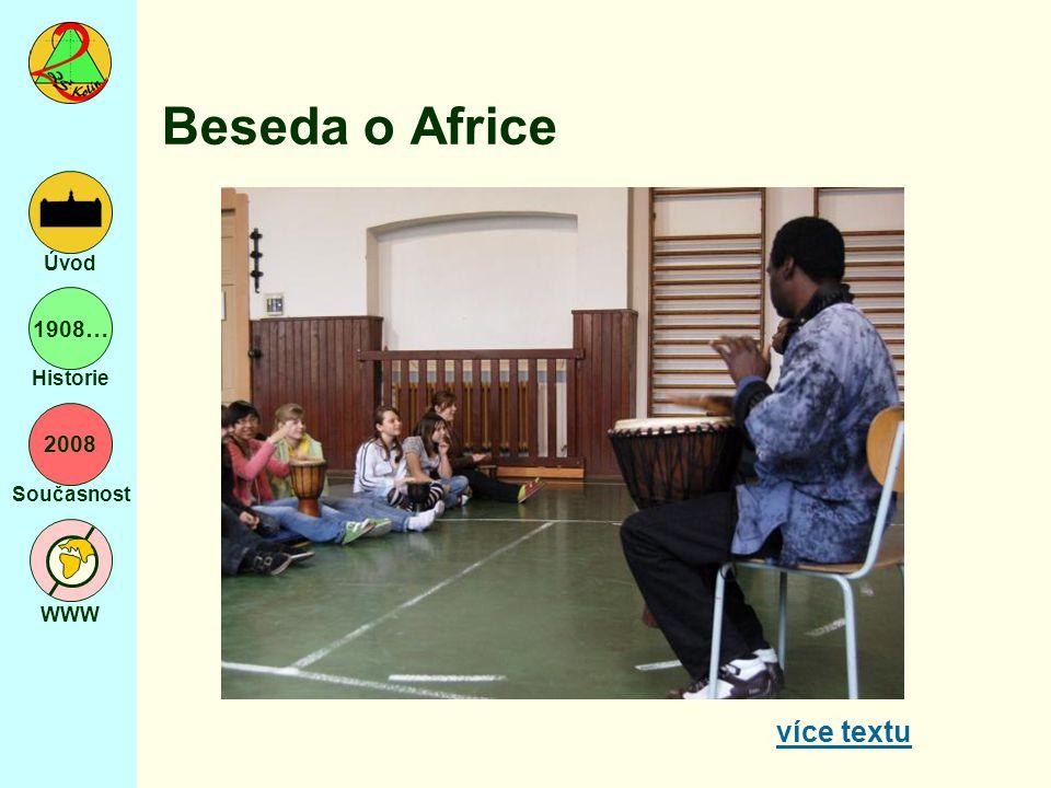 2008 Současnost WWW Úvod 1908… Historie Beseda o Africe více textu