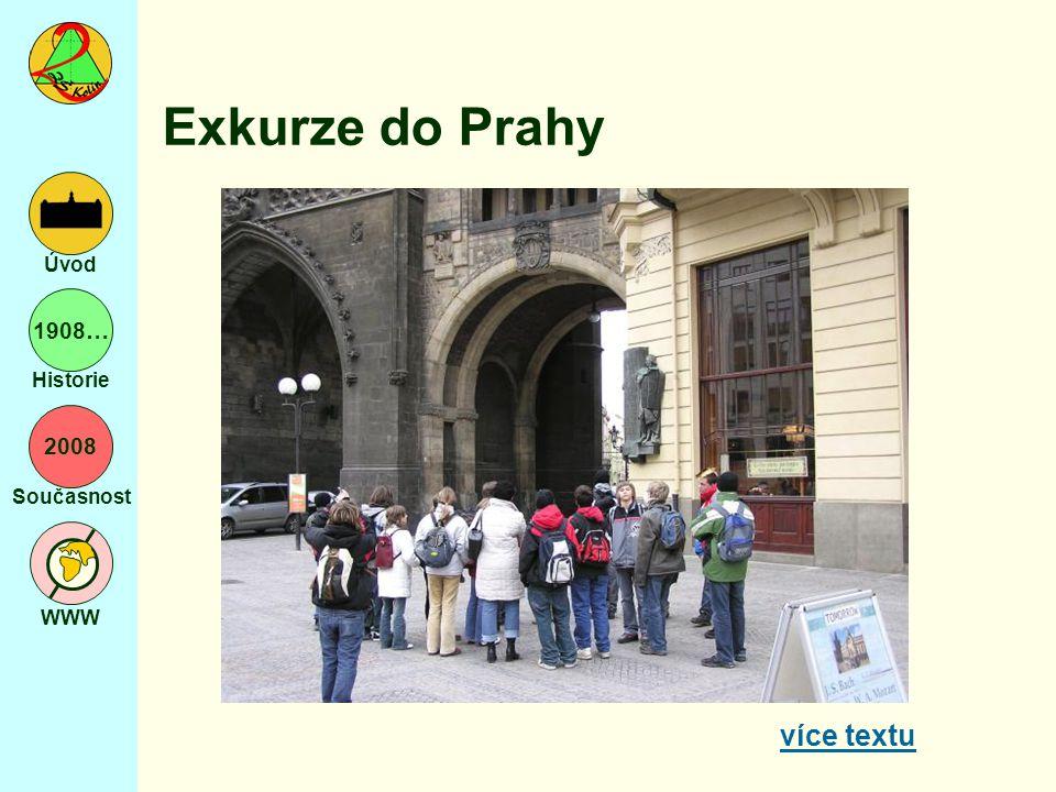 2008 Současnost WWW Úvod 1908… Historie Exkurze do Prahy více textu