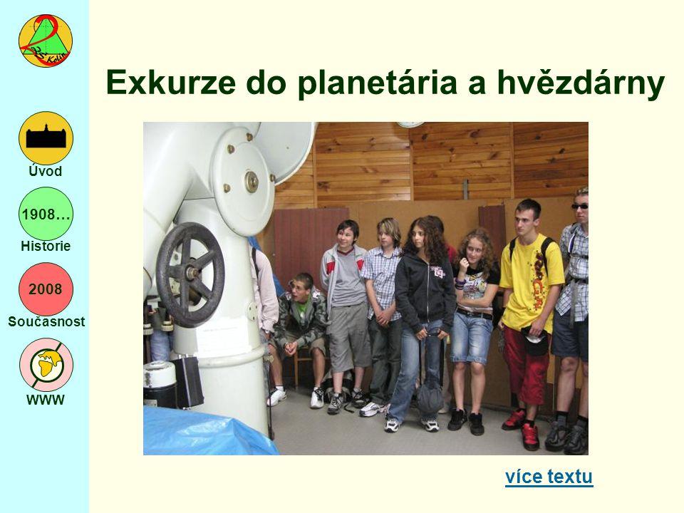 2008 Současnost WWW Úvod 1908… Historie Exkurze do planetária a hvězdárny více textu