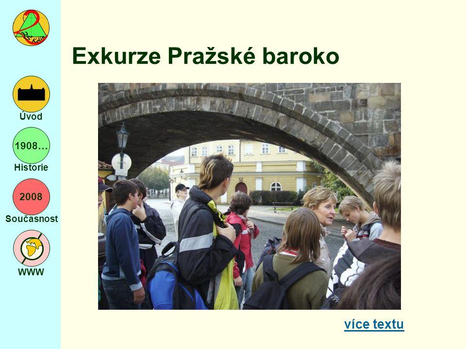 2008 Současnost WWW Úvod 1908… Historie Exkurze Pražské baroko více textu