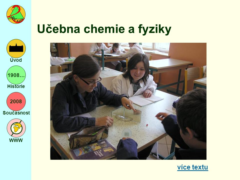2008 Současnost WWW Úvod 1908… Historie Učebna chemie a fyziky více textu