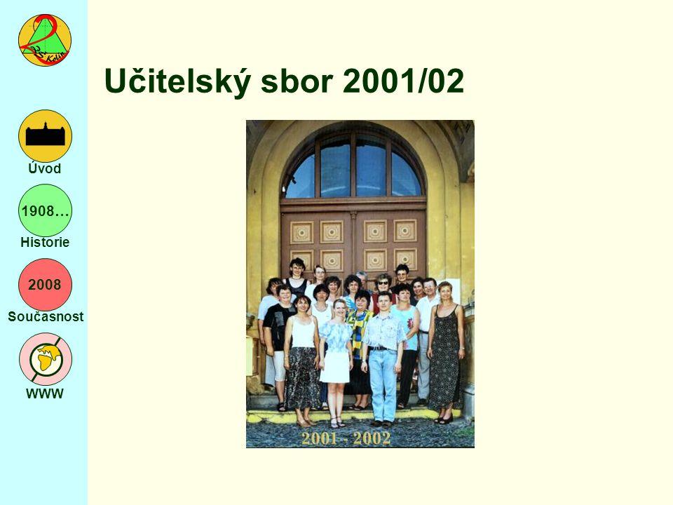 2008 Současnost WWW Úvod 1908… Historie Učitelský sbor 2001/02