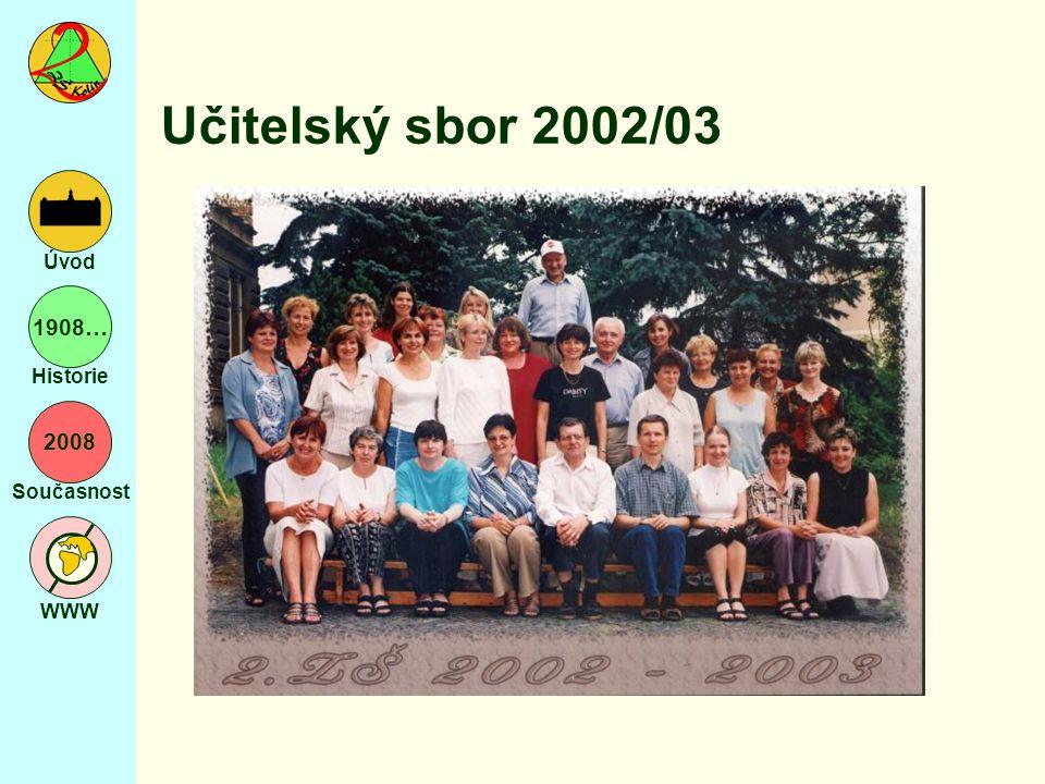 2008 Současnost WWW Úvod 1908… Historie Učitelský sbor 2002/03