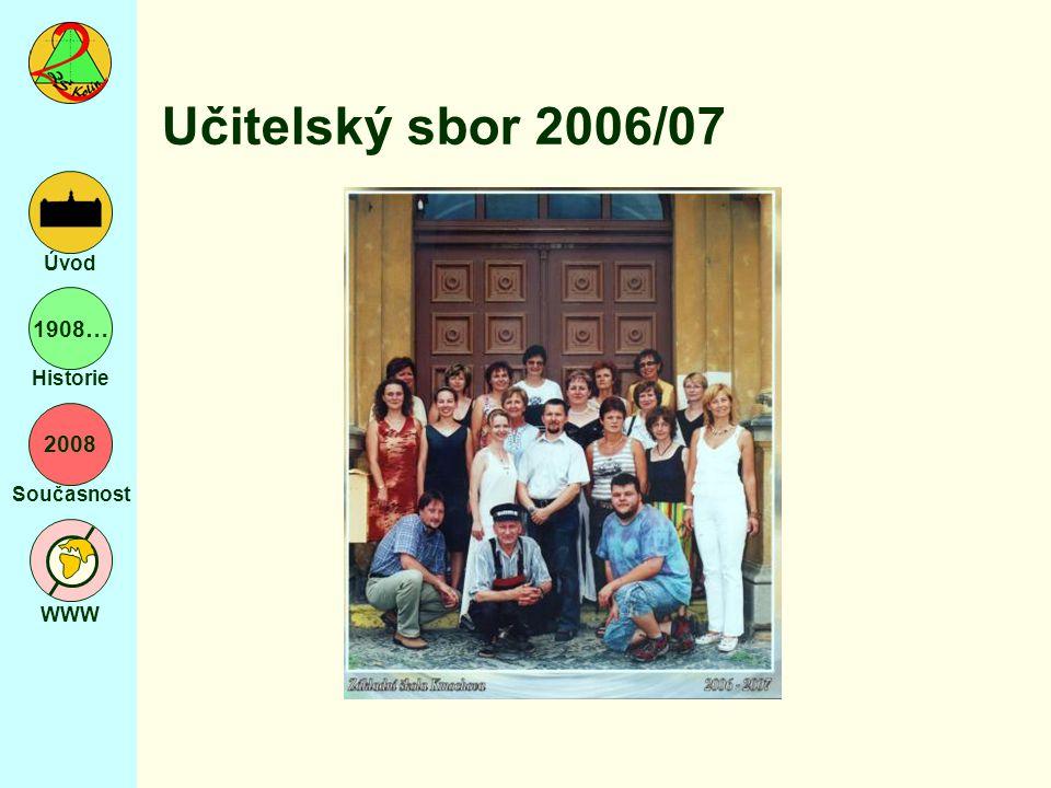 2008 Současnost WWW Úvod 1908… Historie Učitelský sbor 2006/07