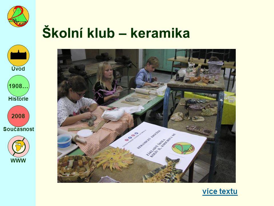 2008 Současnost WWW Úvod 1908… Historie Školní klub – keramika více textu