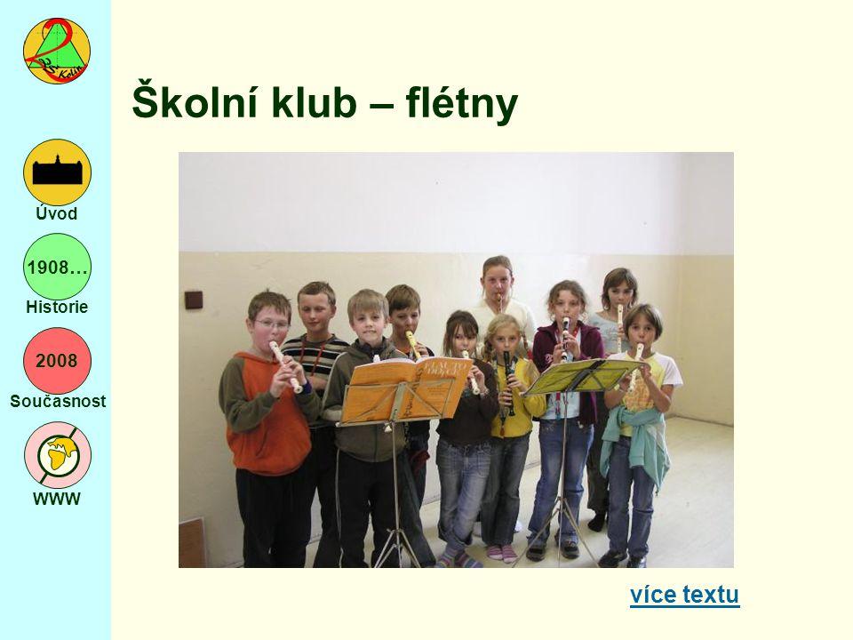 2008 Současnost WWW Úvod 1908… Historie Školní klub – flétny více textu