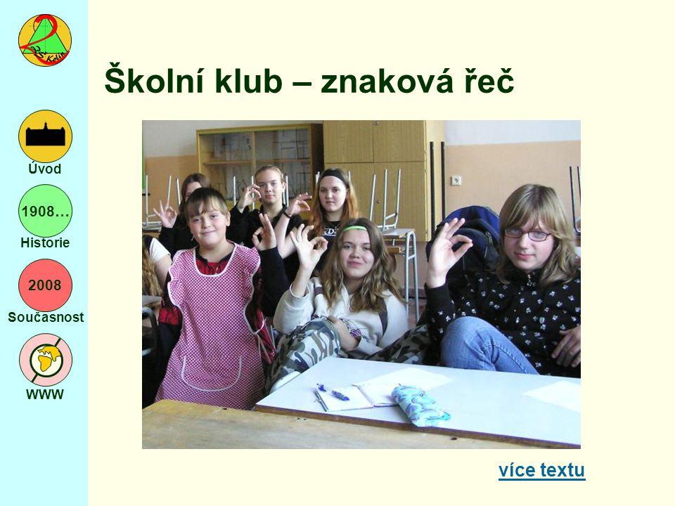 2008 Současnost WWW Úvod 1908… Historie Školní klub – znaková řeč více textu