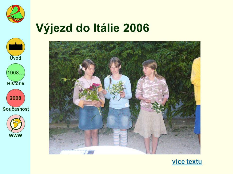 2008 Současnost WWW Úvod 1908… Historie Výjezd do Itálie 2006 více textu