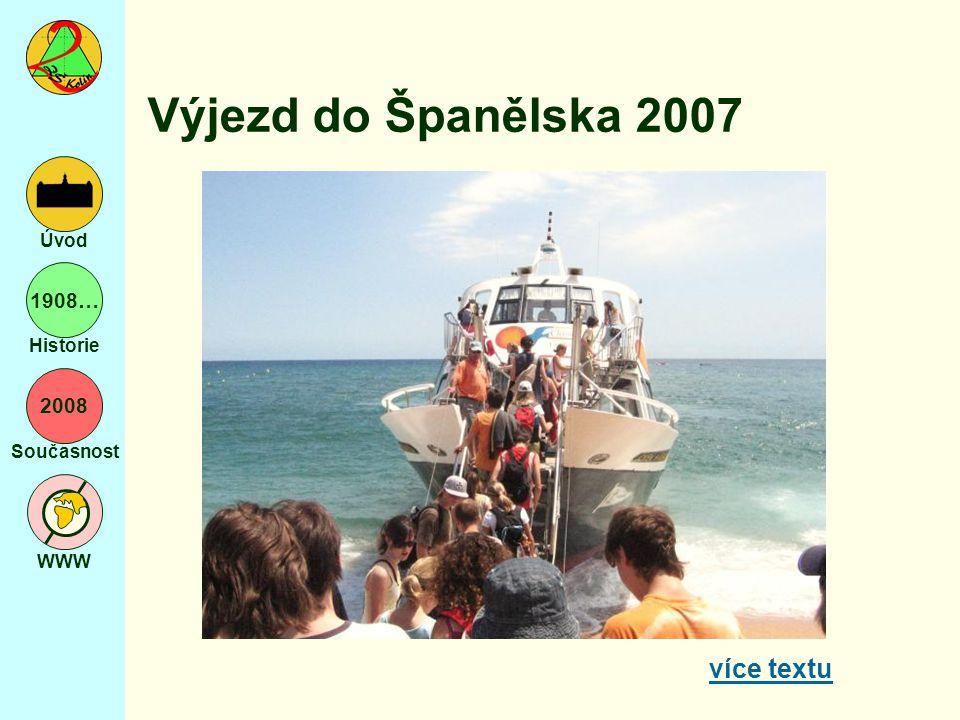 2008 Současnost WWW Úvod 1908… Historie Výjezd do Španělska 2007 více textu