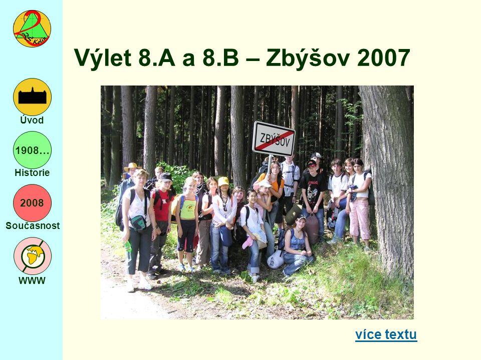 2008 Současnost WWW Úvod 1908… Historie Výlet 8.A a 8.B – Zbýšov 2007 více textu