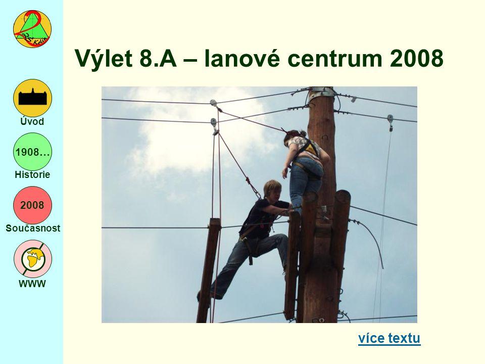 2008 Současnost WWW Úvod 1908… Historie Výlet 8.A – lanové centrum 2008 více textu