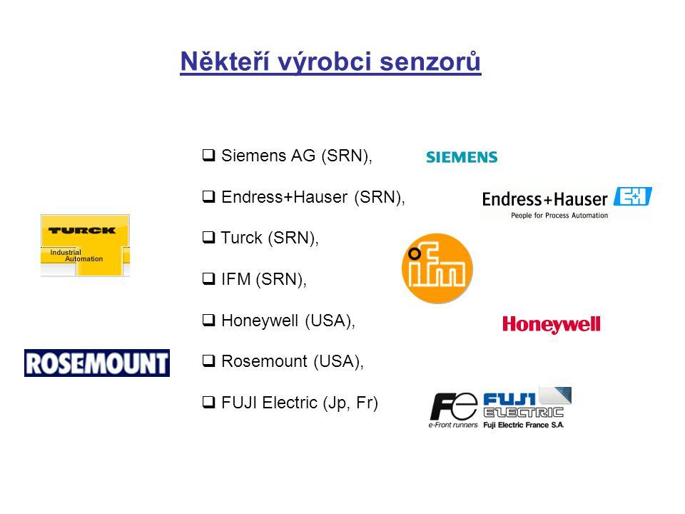 Někteří výrobci senzorů  Siemens AG (SRN),  Endress+Hauser (SRN),  Turck (SRN),  IFM (SRN),  Honeywell (USA),  Rosemount (USA),  FUJI Electric (Jp, Fr)