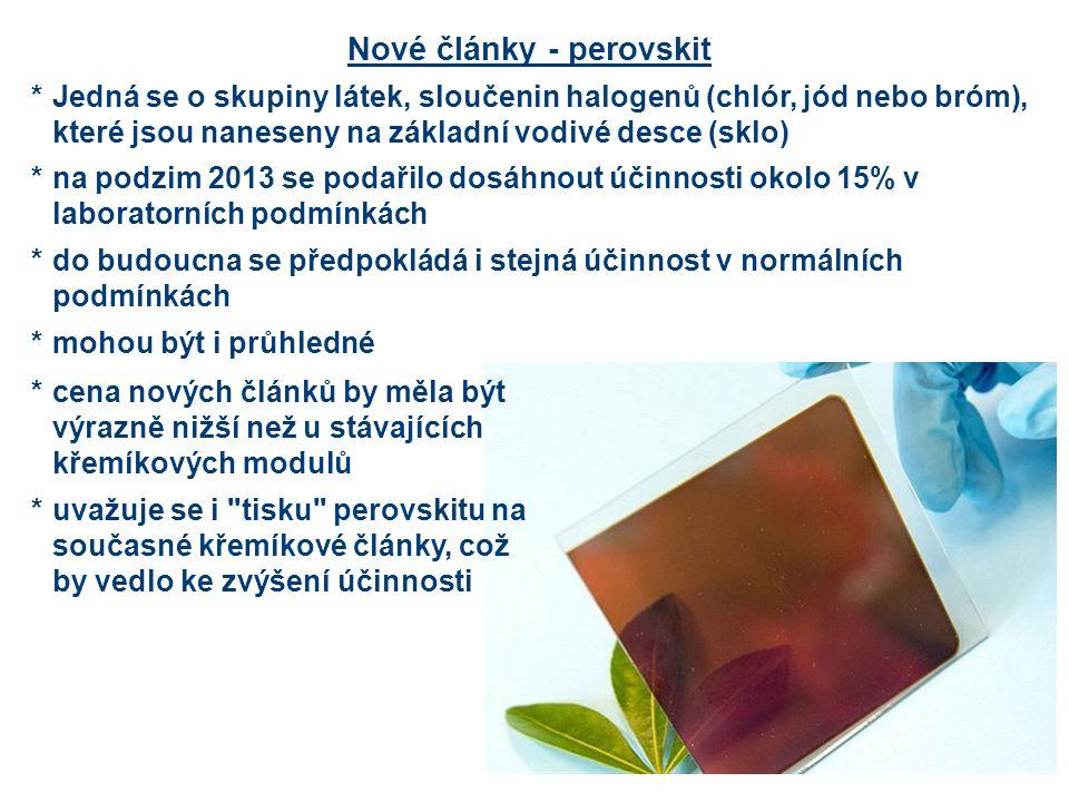 Nové články - perovskit *Jedná se o skupiny látek, sloučenin halogenů (chlór, jód nebo bróm), které jsou naneseny na základní vodivé desce (sklo) *na