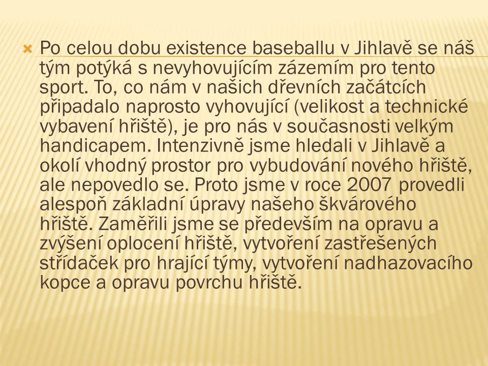  Po celou dobu existence baseballu v Jihlavě se náš tým potýká s nevyhovujícím zázemím pro tento sport.