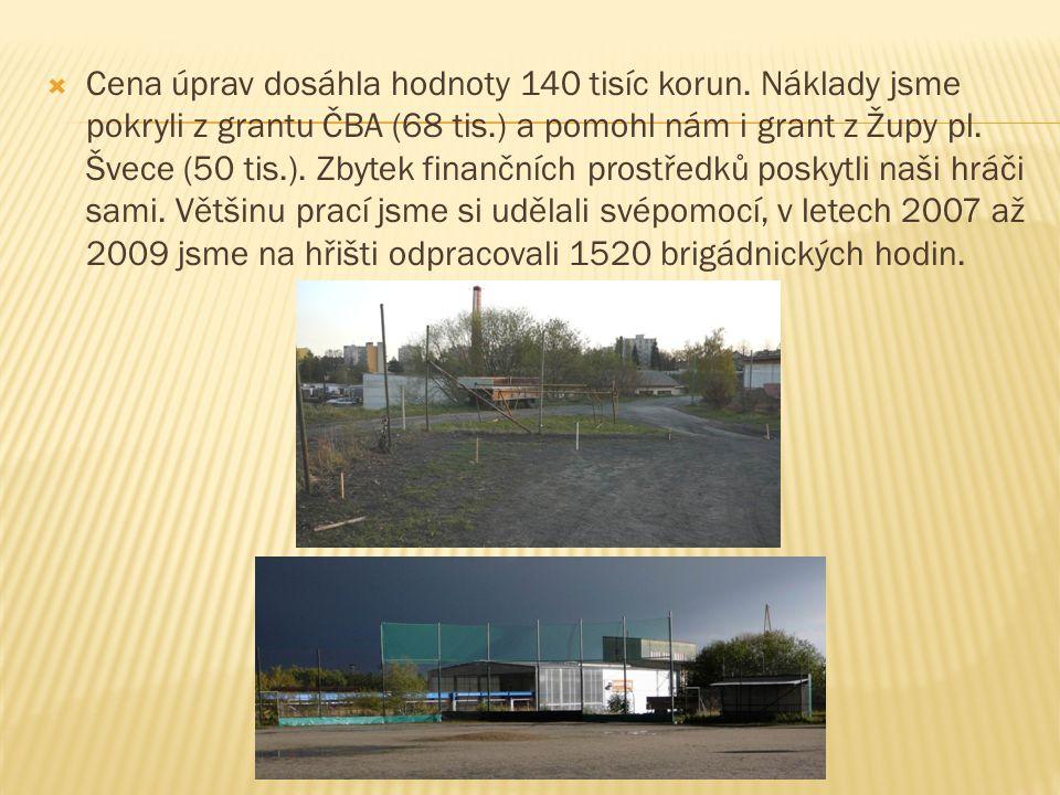  Cena úprav dosáhla hodnoty 140 tisíc korun. Náklady jsme pokryli z grantu ČBA (68 tis.) a pomohl nám i grant z Župy pl. Švece (50 tis.). Zbytek fina