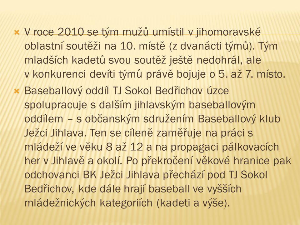  V roce 2010 se tým mužů umístil v jihomoravské oblastní soutěži na 10. místě (z dvanácti týmů). Tým mladších kadetů svou soutěž ještě nedohrál, ale