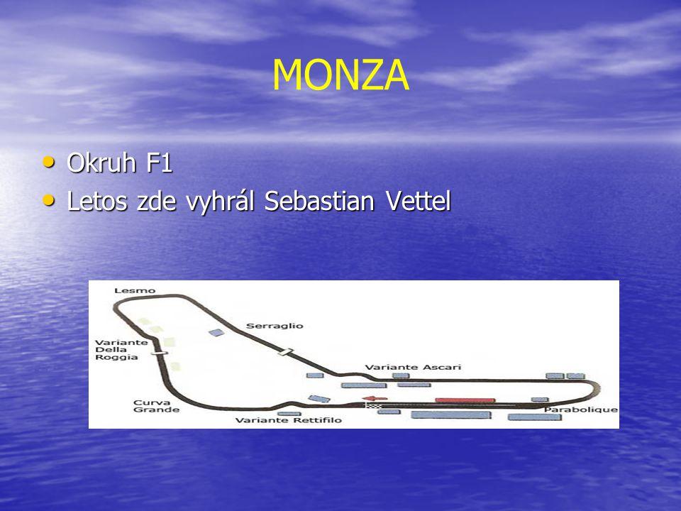MONZA Okruh F1 Okruh F1 Letos zde vyhrál Sebastian Vettel Letos zde vyhrál Sebastian Vettel