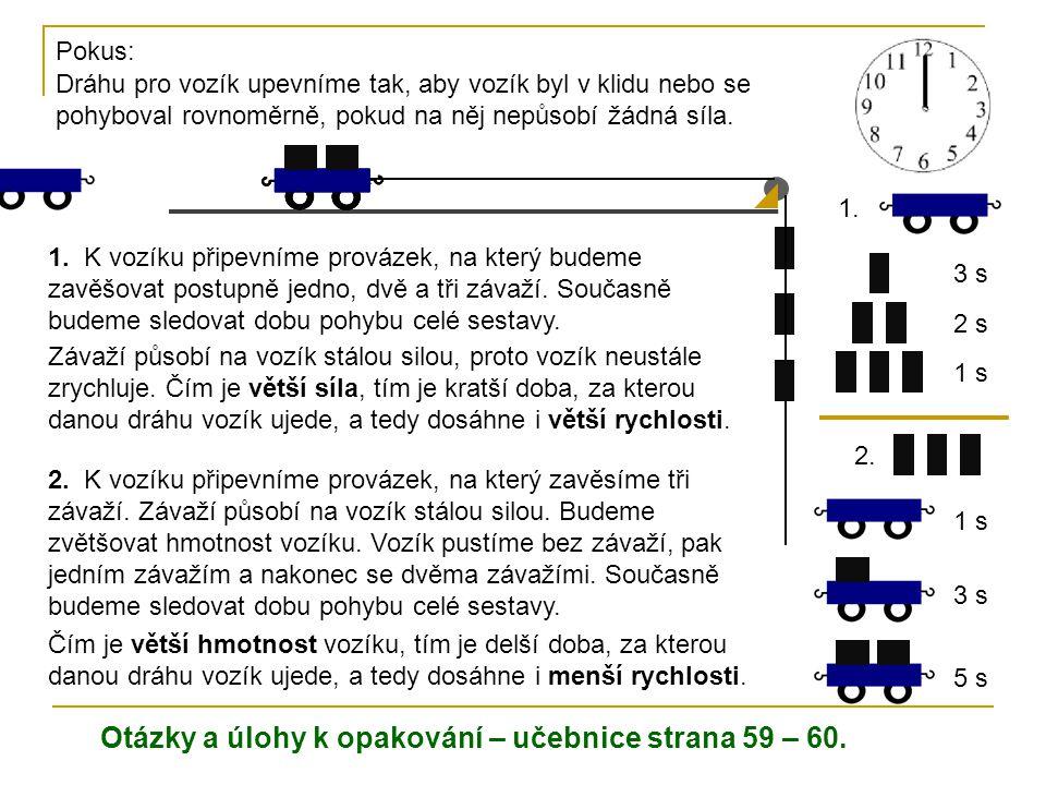 Pokus: Dráhu pro vozík upevníme tak, aby vozík byl v klidu nebo se pohyboval rovnoměrně, pokud na něj nepůsobí žádná síla. 1. K vozíku připevníme prov