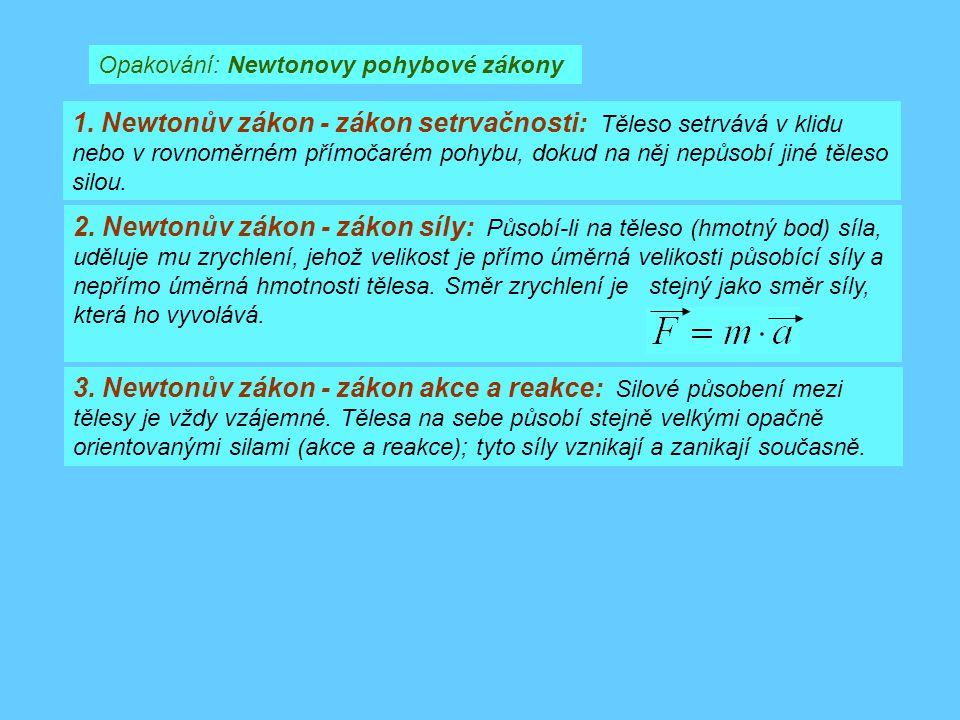Opakování: Newtonovy pohybové zákony 1. Newtonův zákon - zákon setrvačnosti: Těleso setrvává v klidu nebo v rovnoměrném přímočarém pohybu, dokud na ně