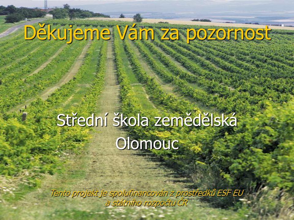 Děkujeme Vám za pozornost Střední škola zemědělská Olomouc Tento projekt je spolufinancován z prostředků ESF EU a státního rozpočtu ČR