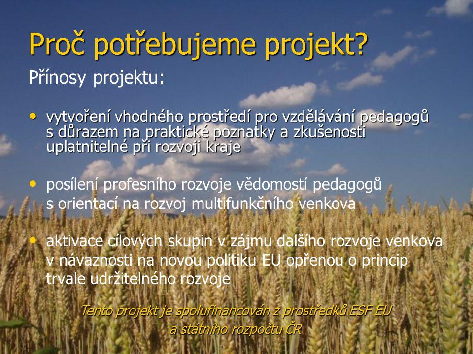 Proč potřebujeme projekt.