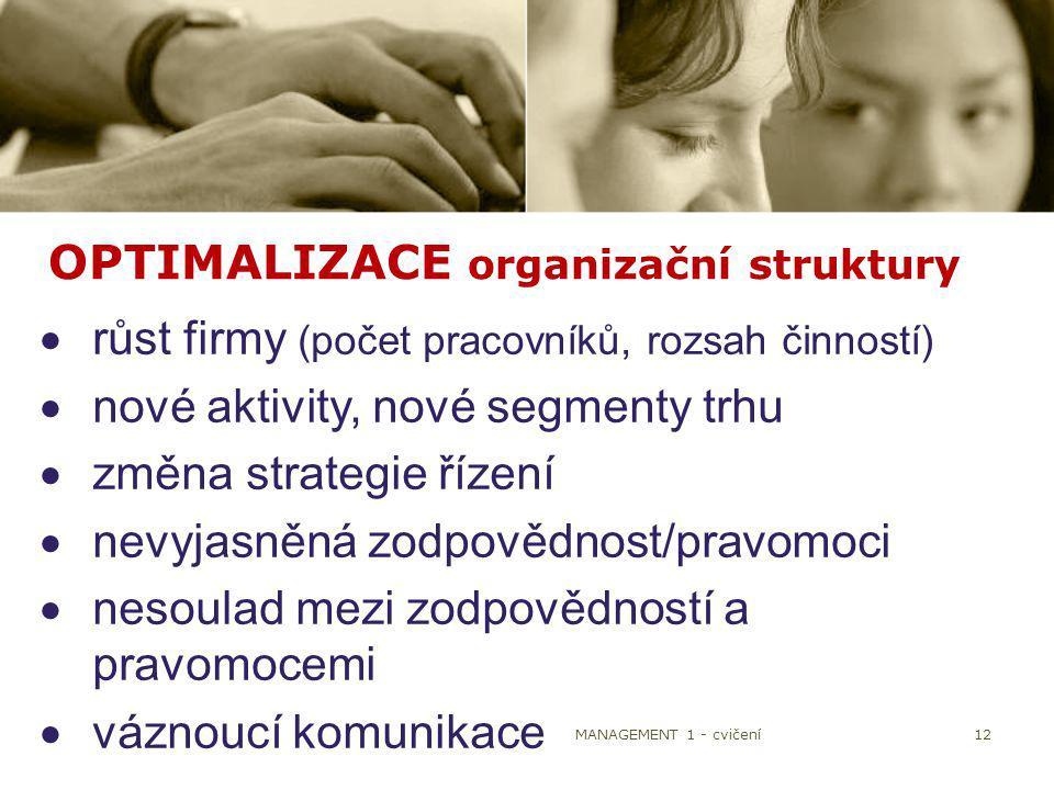 12 OPTIMALIZACE organizační struktury  růst firmy (počet pracovníků, rozsah činností)  nové aktivity, nové segmenty trhu  změna strategie řízení 