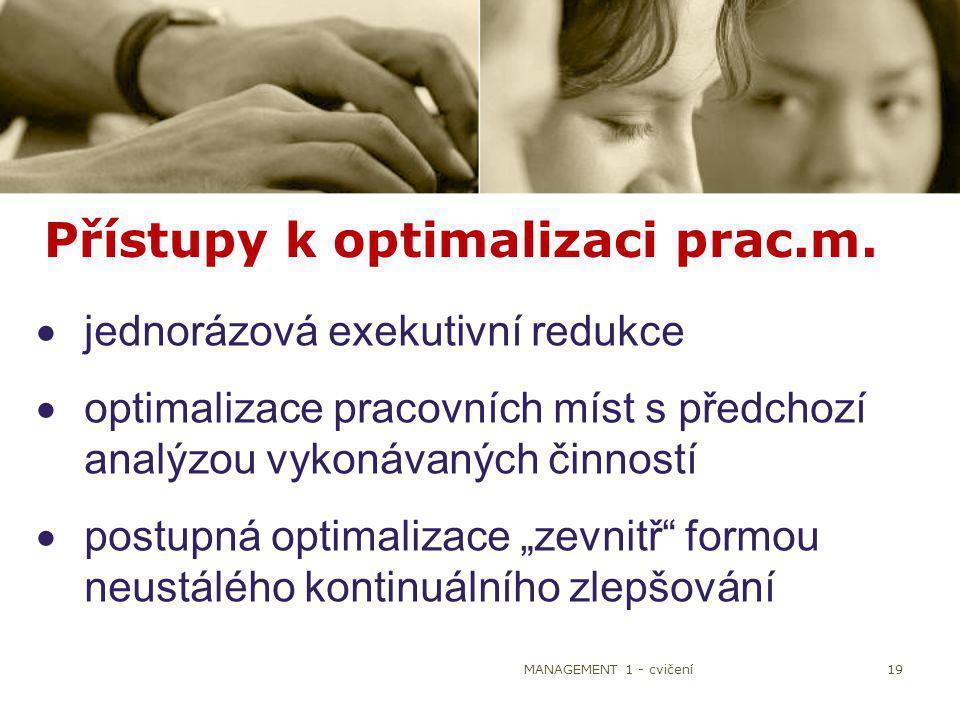 MANAGEMENT 1 - cvičení19 Přístupy k optimalizaci prac.m.  jednorázová exekutivní redukce  optimalizace pracovních míst s předchozí analýzou vykonáva