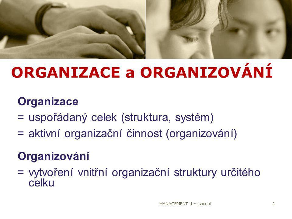 MANAGEMENT 1 - cvičení2 ORGANIZACE a ORGANIZOVÁNÍ Organizace =uspořádaný celek (struktura, systém) =aktivní organizační činnost (organizování) Organiz