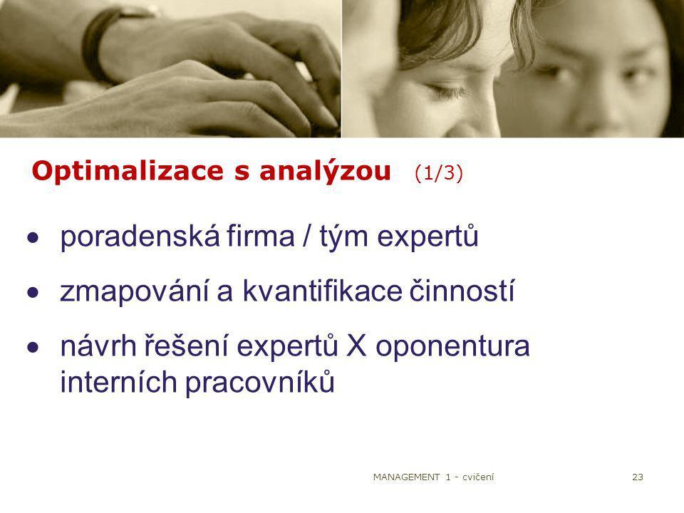 MANAGEMENT 1 - cvičení23 Optimalizace s analýzou (1/3)  poradenská firma / tým expertů  zmapování a kvantifikace činností  návrh řešení expertů X o
