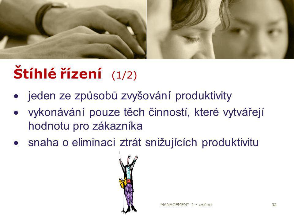 32 Štíhlé řízení (1/2)  jeden ze způsobů zvyšování produktivity  vykonávání pouze těch činností, které vytvářejí hodnotu pro zákazníka  snaha o eli