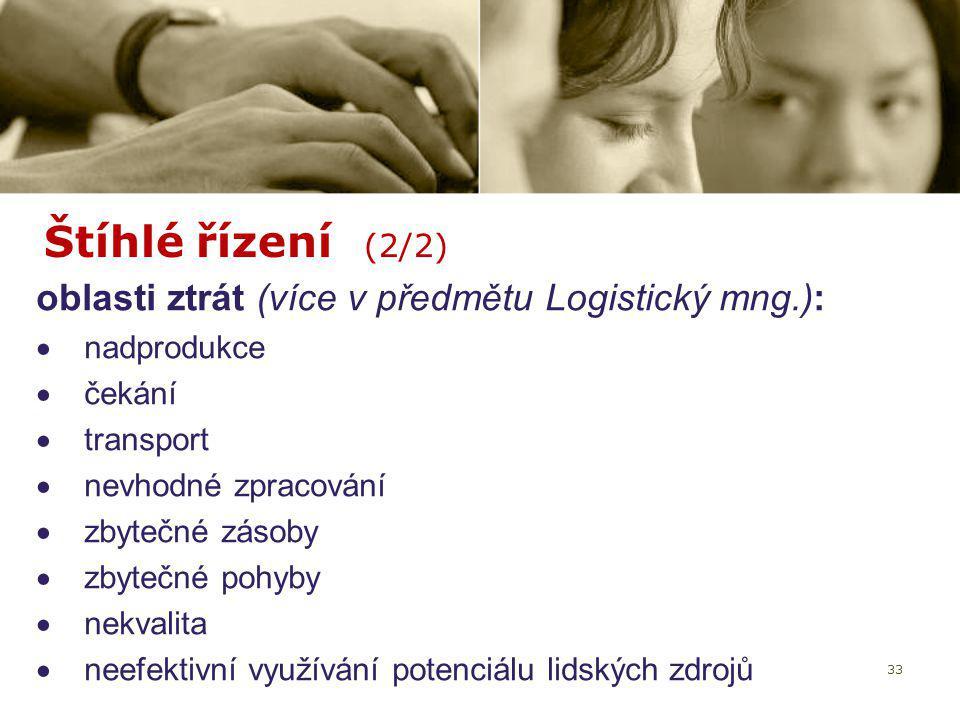 33 Štíhlé řízení (2/2) oblasti ztrát (více v předmětu Logistický mng.):  nadprodukce  čekání  transport  nevhodné zpracování  zbytečné zásoby  z
