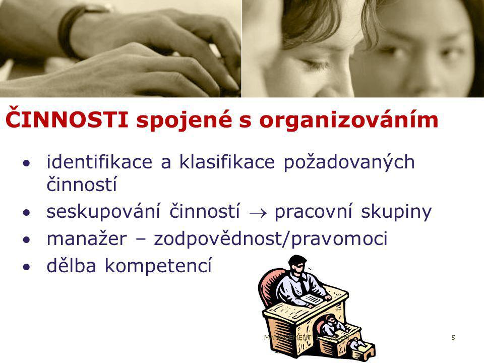 5 ČINNOSTI spojené s organizováním identifikace a klasifikace požadovaných činností seskupování činností  pracovní skupiny manažer – zodpovědnost/