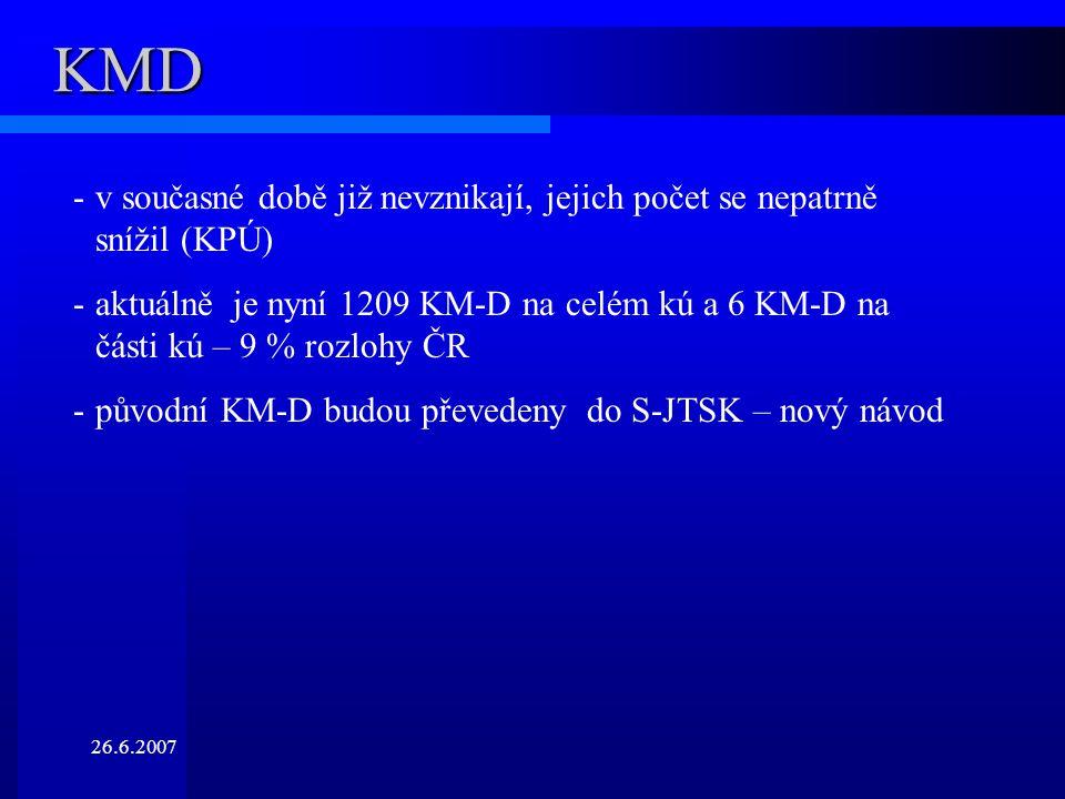 26.6.2007 KMD -v současné době již nevznikají, jejich počet se nepatrně snížil (KPÚ) -aktuálně je nyní 1209 KM-D na celém kú a 6 KM-D na části kú – 9 % rozlohy ČR -původní KM-D budou převedeny do S-JTSK – nový návod