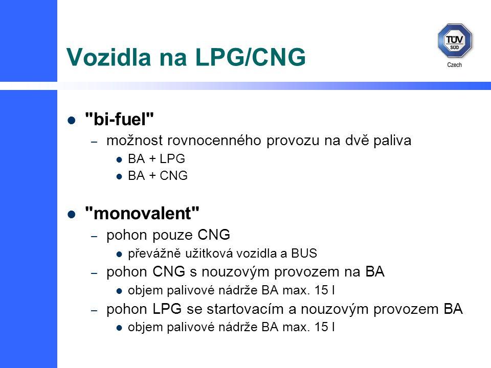 Vozidla na LPG/CNG bi-fuel – možnost rovnocenného provozu na dvě paliva BA + LPG BA + CNG monovalent – pohon pouze CNG převážně užitková vozidla a BUS – pohon CNG s nouzovým provozem na BA objem palivové nádrže BA max.