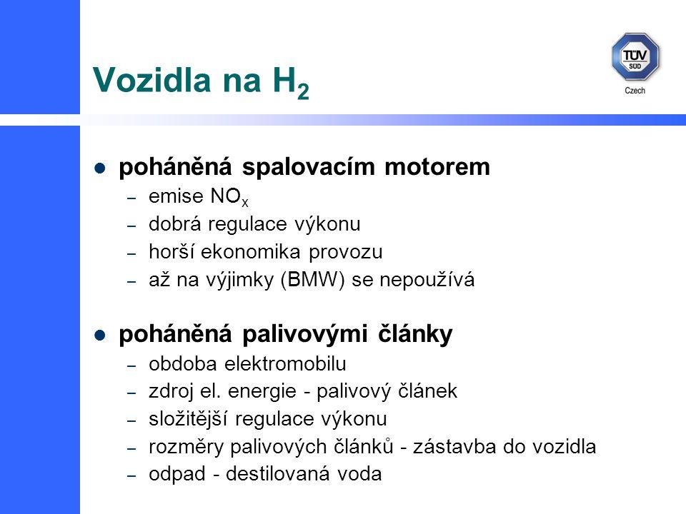 Vozidla na H 2 poháněná spalovacím motorem – emise NO x – dobrá regulace výkonu – horší ekonomika provozu – až na výjimky (BMW) se nepoužívá poháněná palivovými články – obdoba elektromobilu – zdroj el.