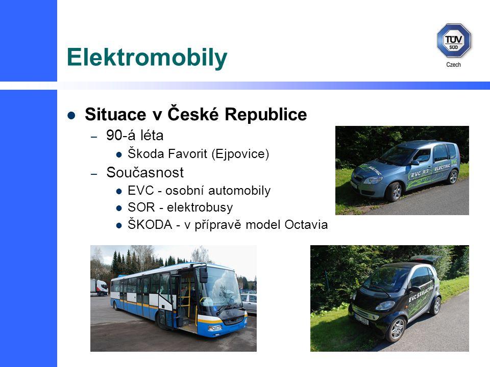 Elektromobily Situace v České Republice – 90-á léta Škoda Favorit (Ejpovice) – Současnost EVC - osobní automobily SOR - elektrobusy ŠKODA - v přípravě model Octavia