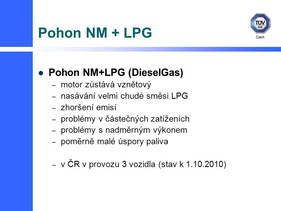 Pohon NM + LPG Pohon NM+LPG (DieselGas) – motor zůstává vznětový – nasávání velmi chudé směsi LPG – zhoršení emisí – problémy v částečných zatíženích – problémy s nadměrným výkonem – poměrně malé úspory paliva – v ČR v provozu 3 vozidla (stav k 1.10.2010)