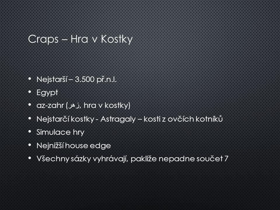 Craps – Hra v Kostky Nejstarší – 3.500 př.n.l. Egypt az-zahr ( زهر, hra v kostky) Nejstarčí kostky - Astragaly – kosti z ovčích kotníků Simulace hry N