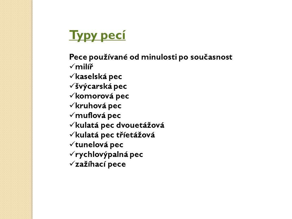 Typy pecí Pece používané od minulosti po současnost milíř kaselská pec švýcarská pec komorová pec kruhová pec muflová pec kulatá pec dvouetážová kulat