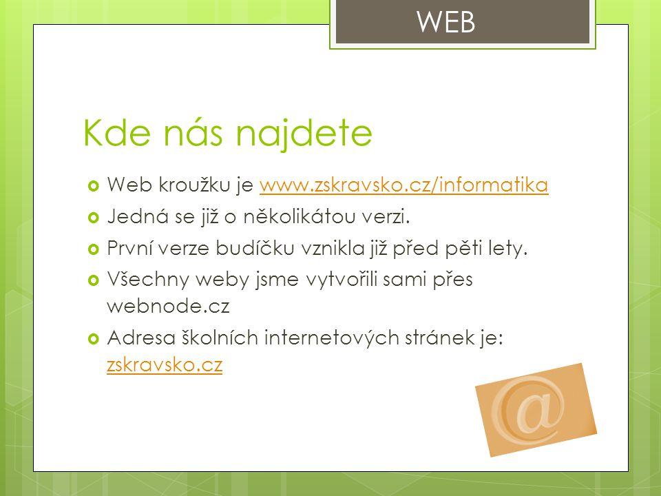 Kde nás najdete  Web kroužku je www.zskravsko.cz/informatikawww.zskravsko.cz/informatika  Jedná se již o několikátou verzi.